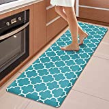 WISELIFE Kitchen Mat Cushioned Anti-Fatigue Kitchen Rug,17.3'x 60',Non Slip Waterproof Kitchen Mats and Rugs Heavy Duty PVC Ergonomic Comfort Mat for Kitchen, Floor Home, Office, Sink, Laundry, Green