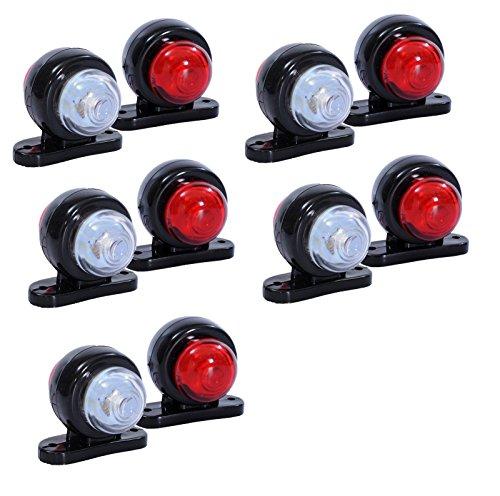 flexzon - 10 luci di ingombro Laterali a LED per Camion, rimorchio, furgoni, Autobus, 12 V, Colore:...