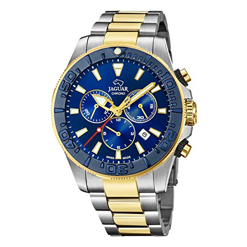 JAGUAR Uhrenmodell J873 / 1 aus der Executive-Kollektion, 46,5 mm blaues Gehäuse mit zweifarbigem Stahlarmband für Herren J873/1