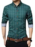 Kuson Homme Chemise à Carreaux Manche Longue Coton Slim Fit Casual Mince Vert XL