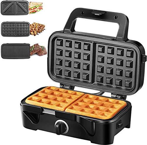 Decen Sandwichmaker 3 in 1 (Waffeleisen Sandwichtoaster Kontaktgrill), 1200W & 5-Gang-Temperaturregelung mit 3 Abnehmbare Platten, Antihaftbeschichtung, LED-Anzeigeleuchten und Cool Touch-Griff