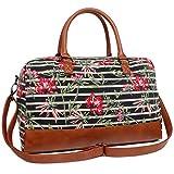 Oflamn Toile Sac de Voyage pour Femmes et Hommes - Bagage Cabine Sac de Sport Cabas Sac en Bandoulière Vol Sac - Weekender Travel Duffle Bag (5.0 Floral Stripe)