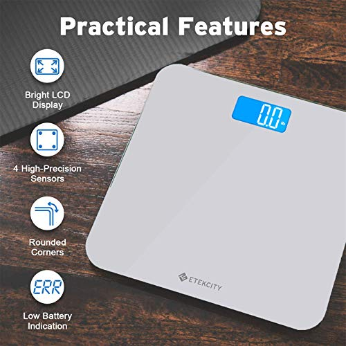 Etekcity Digital Body Weight Bathroom Scale with Body Tape Measure and Round Corner Design, Large Blue LCD Backlight Display, High Precision Measurements, 400 Pounds 7