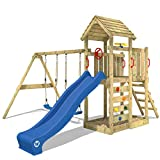 WICKEY Parque infantil de madera MultiFlyer con columpio y tobogán blu, Torre de escalada da exterior con arenero y escalera para niños