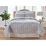 BrylaneHome Floral 6-Pc. Quilt Set - King, Gray White
