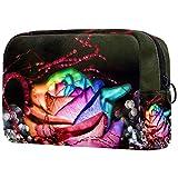Kit de Maquillaje Neceser Makeup Bolso de Cosméticos Portable Organizador Maletín para Maquillaje Maleta de Makeup Profesional Rosas Multicolores 18.5x7.5x13cm