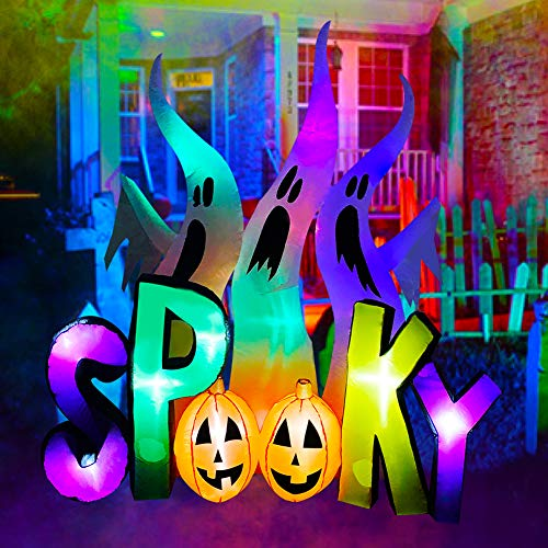 SEASONBLOW 8 FT Halloween Inflatable Ghosts with Spooky Pumpkin LED Lighted Blow Up Decoration for Lawn Yard Garden Outdoor Holiday Decor