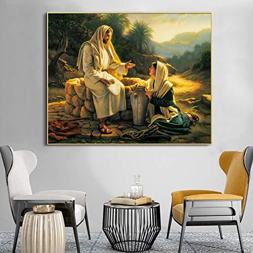 QWESFX Famoso dipinto Dio e donna Poster Stampa murale Tela Pittura Soggiorno Decorazione domestica...