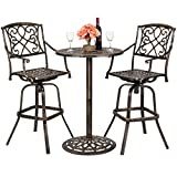 Best Choice Proucts 3-Piece Outdoor Cast Aluminum Bar Height Bistro Set for Patio, Porch w/ 2 360-Swivel Chairs - Antique Copper