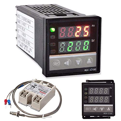 KKmoon デジタル温度調節器 温度コントローラセット+ K熱電対+最大40A SSR デジタルLCD PID コントローラ R...
