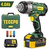 Clé à chocs sans fil, TECCPO 350Nm Boulonneuse a Choc, 4.0Ah Batterie, 1H...