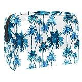 Bolsa de maquillaje portátil con cremallera bolsa de aseo de viaje para las mujeres práctico almacenamiento cosmético bolsa acuarela palmeras patrón
