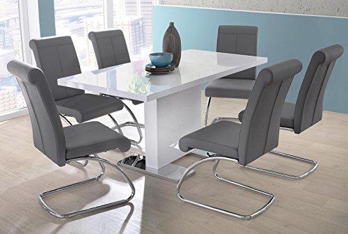 lifestyle4living Esstisch in Weiß Hochglanz   Esszimmertisch ist ausziehbar auf 120-160 cm breit und 80 cm tief, Küchen-Tisch hat Bodenplatte aus Edelstahl