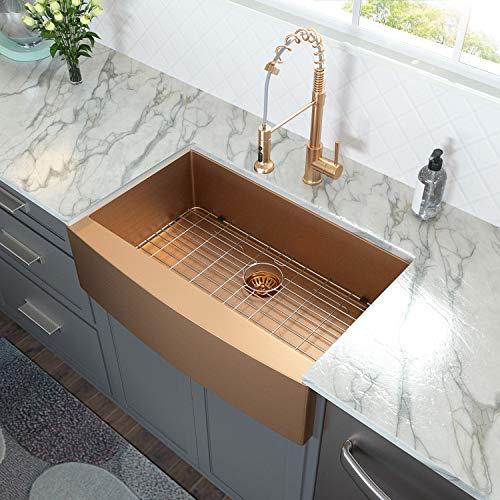 33 Farmhouse Sink Gold - Lordear 33 inch Kitchen Sink Apron Front 16 Gauge Matte Gold Stainless Steel Deep Single...