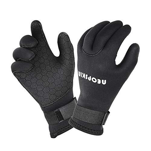 NeopSkin Water Gloves, 3mm & 5mm Neoprene Five Finger Warm Wetsuit Winter Gloves for Scuba Diving...