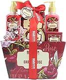 BRUBAKER Cosmetics - Coffret de bain & douche - Jardin fleuri/Rose/Violette - 7 Pièces - Panier rétro décoratif - Idée cadeau
