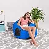 Posh Beanbags Bean Bag Chair, X-Large-48in, Sports Soccer Ball Blue and Black