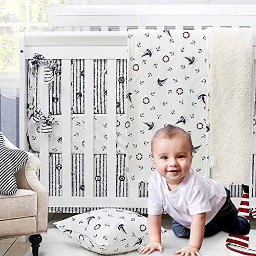 Brandream Nautical Crib Bedding Set for Boys Coastal Ocean Anchor Blue Baby Nursery Set with Crib Sheets 2 Pack, White & Navy Blue, 4 Pieces