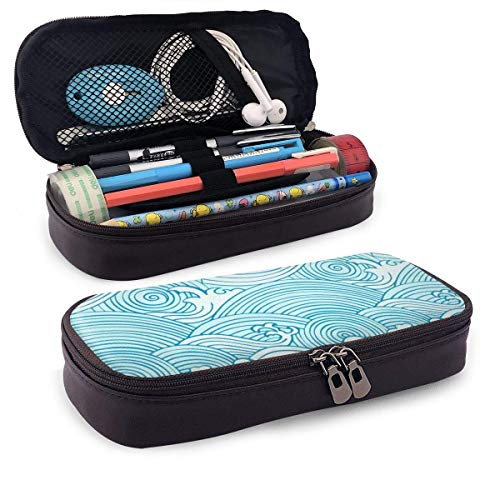 Sea Wave Astuccio Case Zipper Bag Stationery Pouch Holder Box Organizer for Middle High School Office College