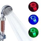 DELIPOP Pomme de douche led 3 couleurs tête de douche température douchette spa...