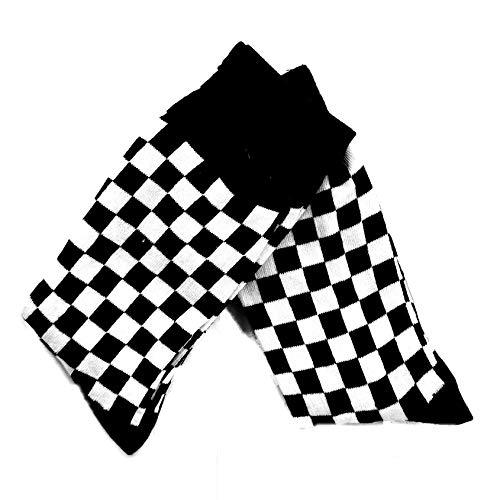 Confezione da due paia di calze a quadretti, colore: nero e bianco, taglia 6-10