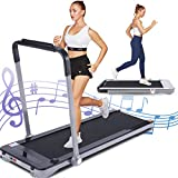 FUNMILY 2 in 1 Under Desk Treadmill for Walking & Running, Installation-Free, 2.25HP, Portable & Compact, Electric Folding Treadmill for Home Office with Remote Control, LCD Display, Bluetooth Speaker