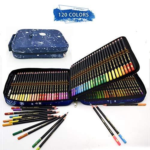 Professionali Colorate Matita Set e kit per disegnare,120 Matite Colorate in astuccio con zip per raggruppare e proteggere le tue matite colorate-120 Colori Unici per Disegnare e Libri da Colorare