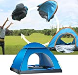 BUZZYFUZZY Instant Pop Up Tent 1-2/3-4 Person Camping Tent, Instant Set Up, Outdoor Hiking Backpacking Tent Shelter (Blue, Small)