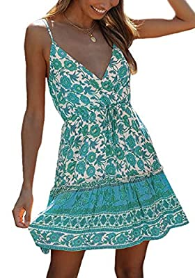 Material: Polyester & Cotton. High quality material, soft, lightweight and breathable fabric. Feature:Bohemian printing sleeveless dress for teen girls, adjustable strappy, unique wrap cross, bow tie front, soft knit material, make you more beautiful...