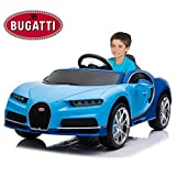 Licensed Bugatti Chiron 12V Electric Ride On Car with Remote Control for Kids, MP3 and FM, 35W Motors, Rear Trunk, Leather Seat, Matrix LED Headlight and Openable Doors, Blue