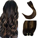 LaaVoo Sew In Human Hair Weft Extension Double Weft Silky Straight Hair Extension Balayage Color Darkest Brown to Ash Brown with Brown Weave Weft for Woman 100g Per Bundle #2/8/2 20'