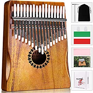 ♫ Rigorous Raw Materials Selection: 17 keys Kalimba thumb piano is handcrafted with high-quality material and ore steel bars. Natural air-dried wood provides ethereal timbre, which is a wonderful match with the natural wood grain. ♫ Embossed Notes & ...