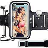 Gritin Fascia da Braccio, Sweatproof Fascia da Braccio Sportiva con Chiave e Riflettente Armband per iPhone SE(2020)/11/11 Pro/XR/XS/X/8/7, Galaxy S10/S9-Un Bracciale aggiuntivo di Estensione Incluso
