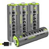Powerful 4A High Out Put & High Capacity 1700mAh-USB Rechargeable AA Batteries - Double A Lithium/Li-ion Battery 1.5V for Better Compatibility - Quick Charge with 2 Hours by Blackube(4-Pack AA)