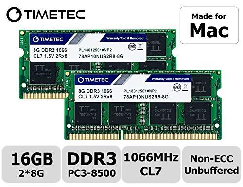 Timetec Hynix IC Apple 16GB Kit (2x8GB) DDR3 PC3-8500 1066MHz memory upgrade for iMac 20 inch /21.5 inch/24 inch /27 inch, MacBook Pro 13 inch/ 15 inch/ 13 inch, Mac mini 2009 2010 (16GB Kit (2x8GB))