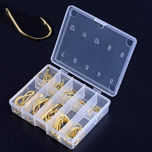 OriGlam - Ami da pesca in acciaio ad alto tenore di carbonio, 100 pezzi con scatola, ami da pesca adatti per spigola, trota, acqua dolce e salata