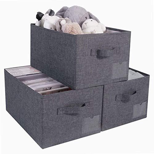 AMX Set di 3 scatole di immagazzinaggio Aperte Grandi Lavabili, cubi dell'organizzatore dell'Armadio...