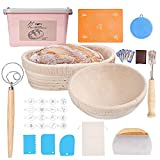 TINYFS Bread Proofing Basket Set, Bread Baking Supplies with 9 inch Round& 10 inch Oval Banneton Proofing Basket for Sourdough Linen Liner Cloth Bread Lame Dough Scraper Bowl Scraper Danish Dough Whisk, Baking Gifts for Bakers