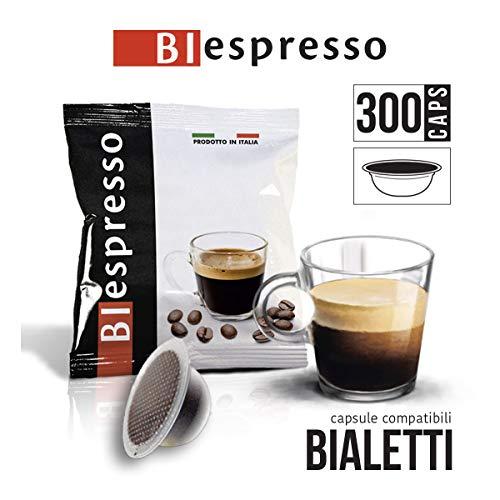 Bialetti capsule compatibili, 300 caffè monouso, miscela INTENSO, confezione da 300 capsule, prodotto in Italia da Biespresso