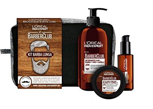 L'Oréal Paris Men Expert Barber Club Pochette con Detergente 3-in-1 Barba-Viso-Capelli, Olio Disciplinante e Styling Cream, Ottimo per Barba Lunga