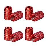 Bouchons de Valve en Aluminium Casquettes Anti Poussière de Voiture Tige de Roue de Pneu Capuchons de Poussière de la Valve, 8 Pièces (Rouge)