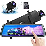 AKASO Mirror Dash Camera for Cars - 10'' Backup Camera 1080P Dual Dash Cam Front and Rear Stream Media Touch Screen DVR with Sony IMX307 G-Sensor Parking Monitor 32 GB SD Card (DL9)