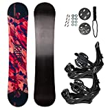 STAUBER 133cm Summit Snowboard & Binding Package Sizes 128, 133, 138, 143, 148,153,158, 161- Best All Terrain, Twin Directional, Hybrid Profile - Adjustable Bindings - Designed for All Levels