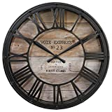 Horloge pendule murale style vintage - diamètre 39 cm - Coloris marron...