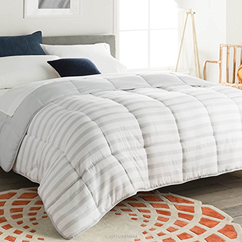 Linenspa All-Season Reversible Down Alternative Quilted Comforter - Hypoallergenic - Plush Microfiber Fill - Machine Washable - Duvet Insert or Stand-Alone Comforter - Grey/White Stripe - Twin