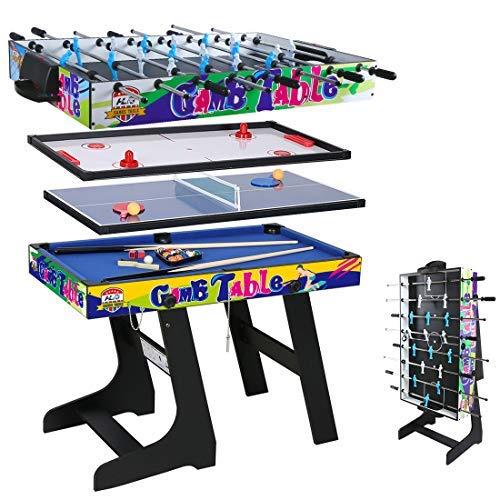 YD Tavolo da Gioco Multifunzionale 4 in 1 per Hockey, Biliardo, Calcio Balilla, Ping Pong/Ping-Pong, Verde, Pieghevole Calcio Balilla Professionale