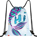 WERNNSAI Mochila con Cordón de Sirena de Lentejuelas - 35 × 45cm Bolsas de Deporte Azul Regalo de cumpleaños de Navidad Impermeable Bolsas de Gimnasia Yoga Gym Sack Saco de Gimnasio