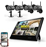 4UCam 1080P HD Digital Wireless Home Security Camera System 4CH 10 Inch HD Touch Split Screen LCD Monitor Indoor Outdoor 2.0 Megapixel Camera (4 Camera Set Black)