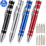 4 Pieces Pen Screwdriver Handy Tool 8 in 1 Magnetic Pocket Screwdriver Multi-Function Mini Gadgets Repair Tools (Black, Red, Blue, Silver)