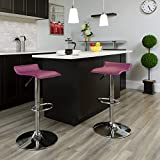 Flash Furniture Contemporary Purple Vinyl Adjustable Height Barstool with Solid Wave Seat and Chrome Base